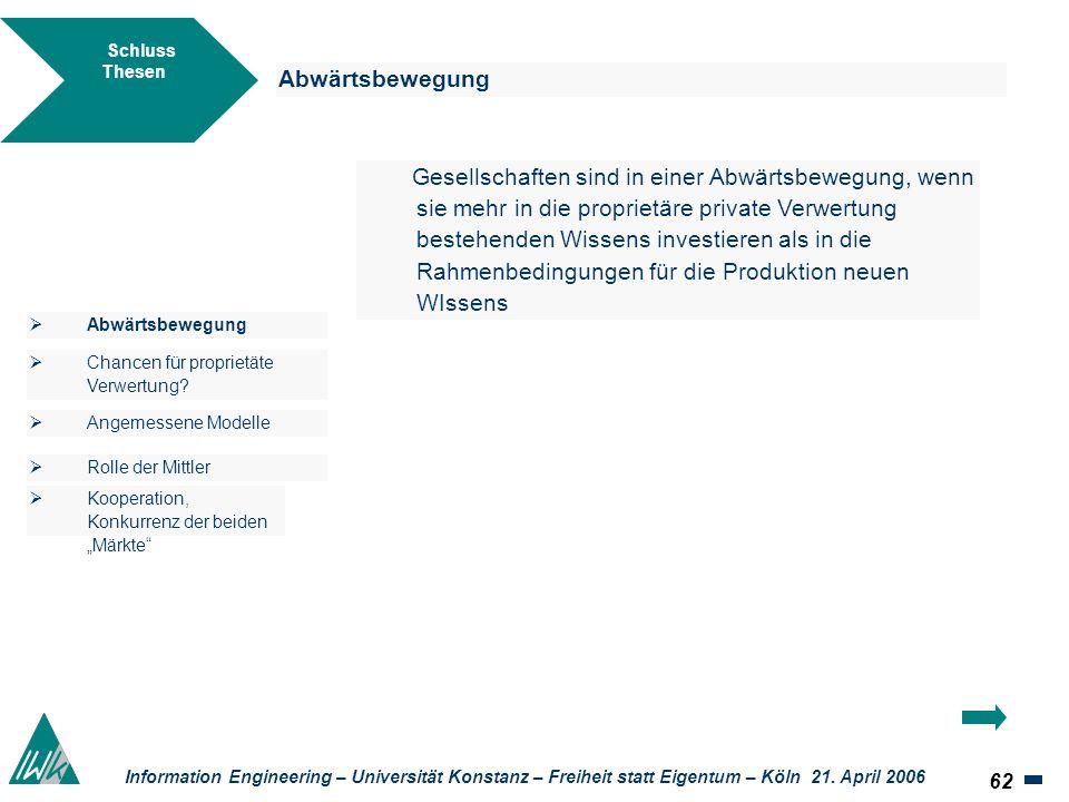 62 Information Engineering – Universität Konstanz – Freiheit statt Eigentum – Köln 21. April 2006 Schluss Thesen Abwärtsbewegung Gesellschaften sind i