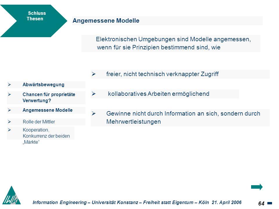 64 Information Engineering – Universität Konstanz – Freiheit statt Eigentum – Köln 21. April 2006 Schluss Thesen Angemessene Modelle Elektronischen Um