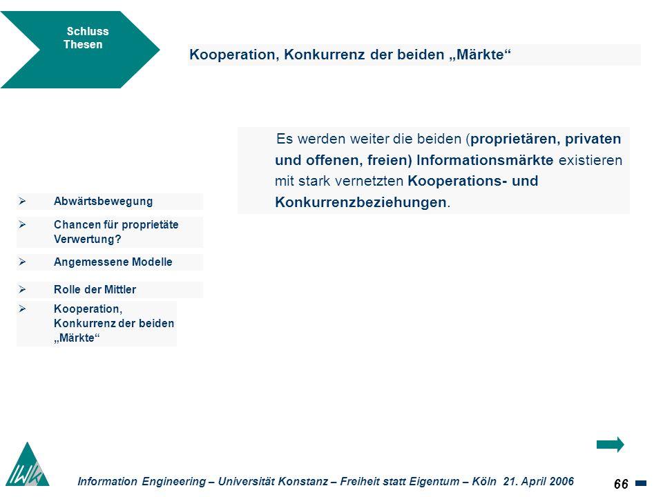 66 Information Engineering – Universität Konstanz – Freiheit statt Eigentum – Köln 21. April 2006 Schluss Thesen Kooperation, Konkurrenz der beiden Mä
