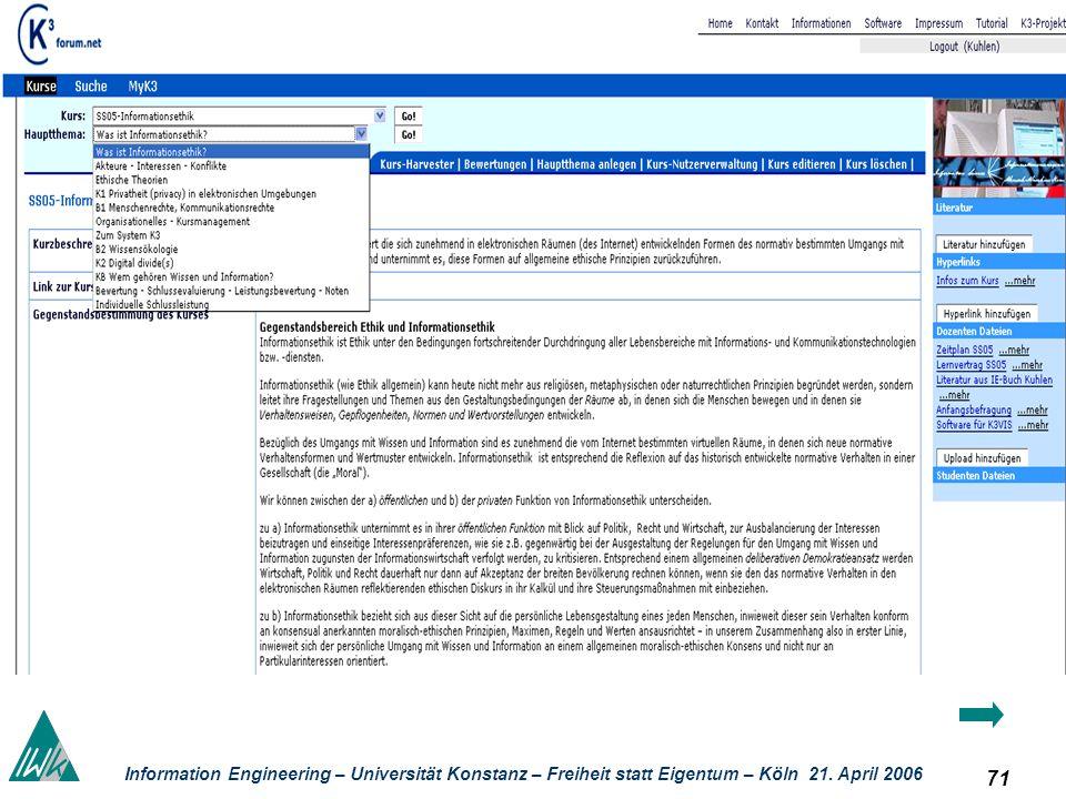 71 Information Engineering – Universität Konstanz – Freiheit statt Eigentum – Köln 21. April 2006 Kolla boratives Lernen
