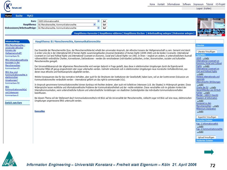 72 Information Engineering – Universität Konstanz – Freiheit statt Eigentum – Köln 21. April 2006 Kolla boratives Lernen