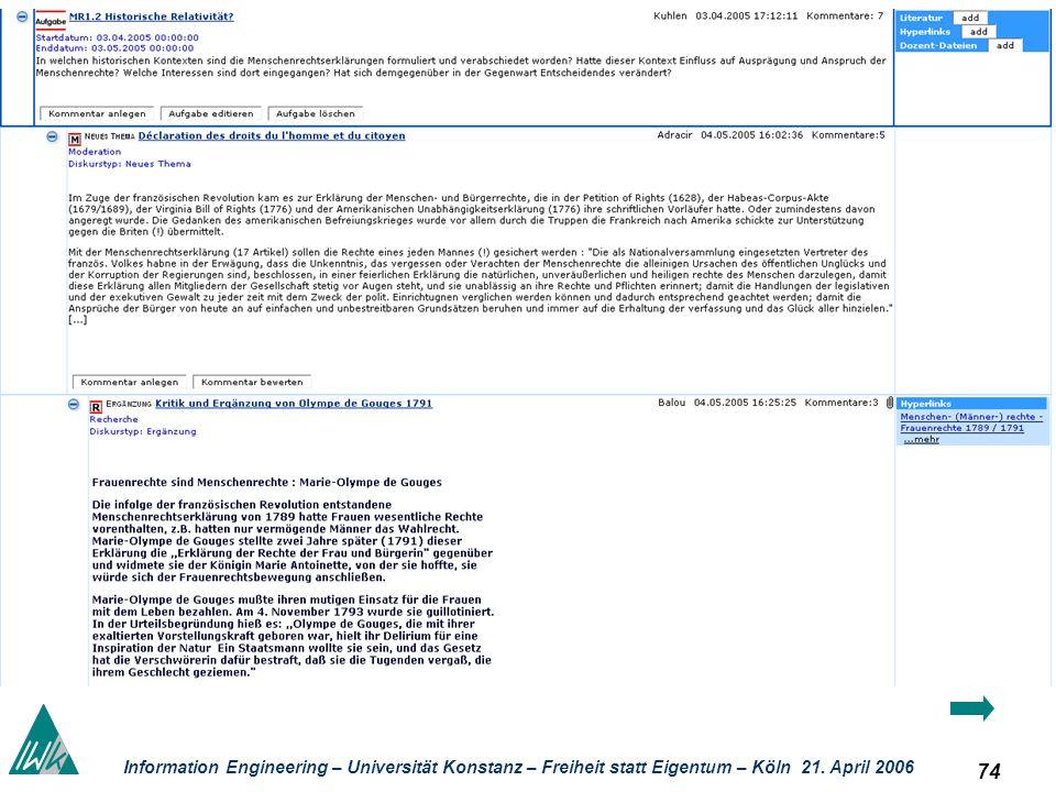 74 Information Engineering – Universität Konstanz – Freiheit statt Eigentum – Köln 21. April 2006 Kolla boratives Lernen