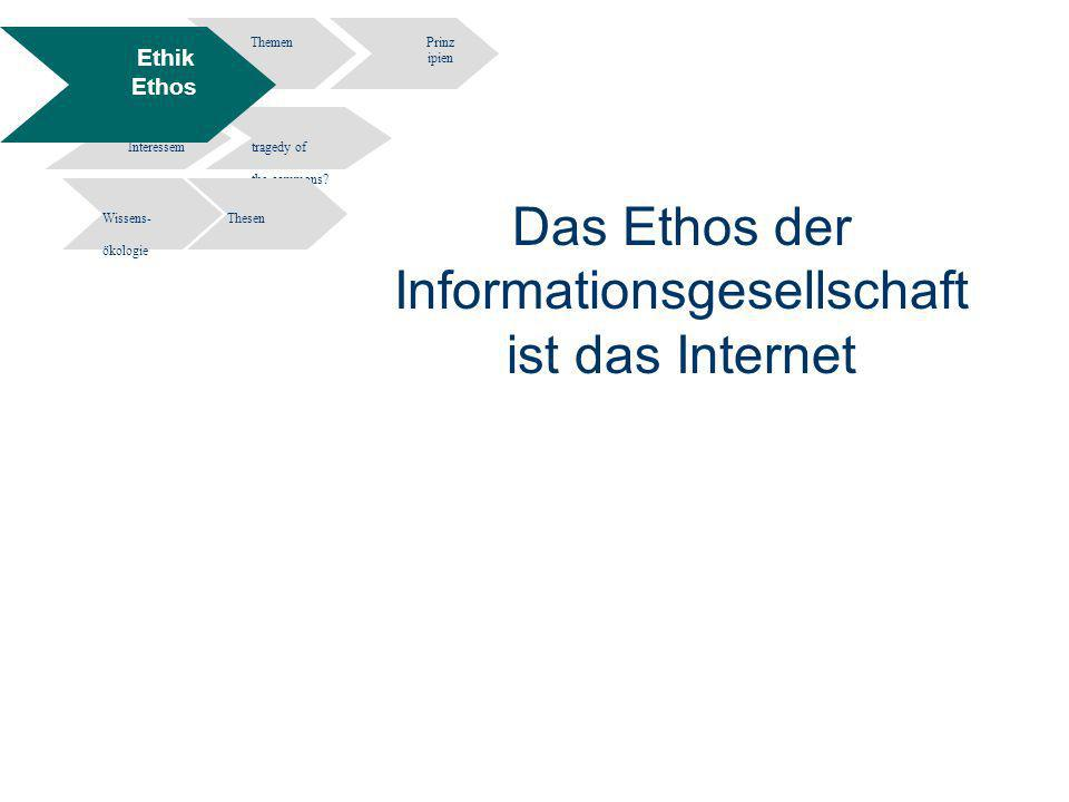 12 Information Engineering - Department of Computer and Information Science University of Constance Informationsethik- Wissen und Information in elektronischen Räumen - Potsdam 02.12.2004 Das Ethos der Informationsgesellschaft ist das Internet ThemenPrinz ipien Widersprüche Interessem tragedy of the commons.