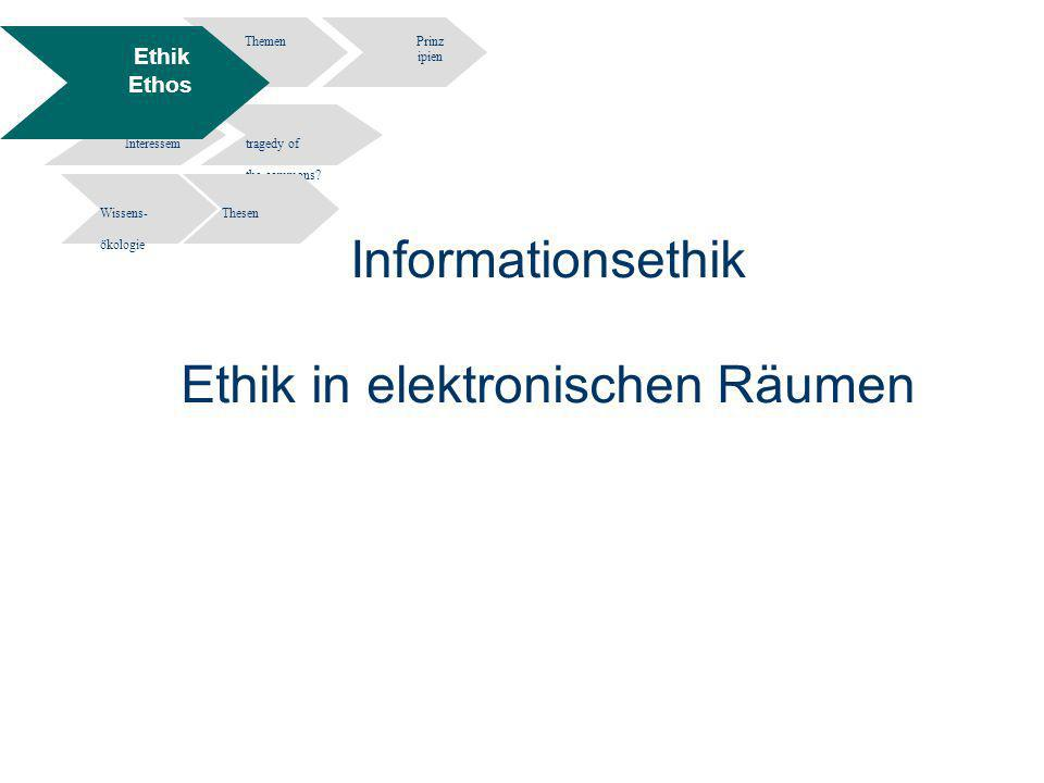 4 Information Engineering - Department of Computer and Information Science University of Constance Informationsethik- Wissen und Information in elektronischen Räumen - Potsdam 02.12.2004 Informationsethik Ethik in elektronischen Räumen ThemenPrinz ipien Widersprüche Interessem tragedy of the commons.