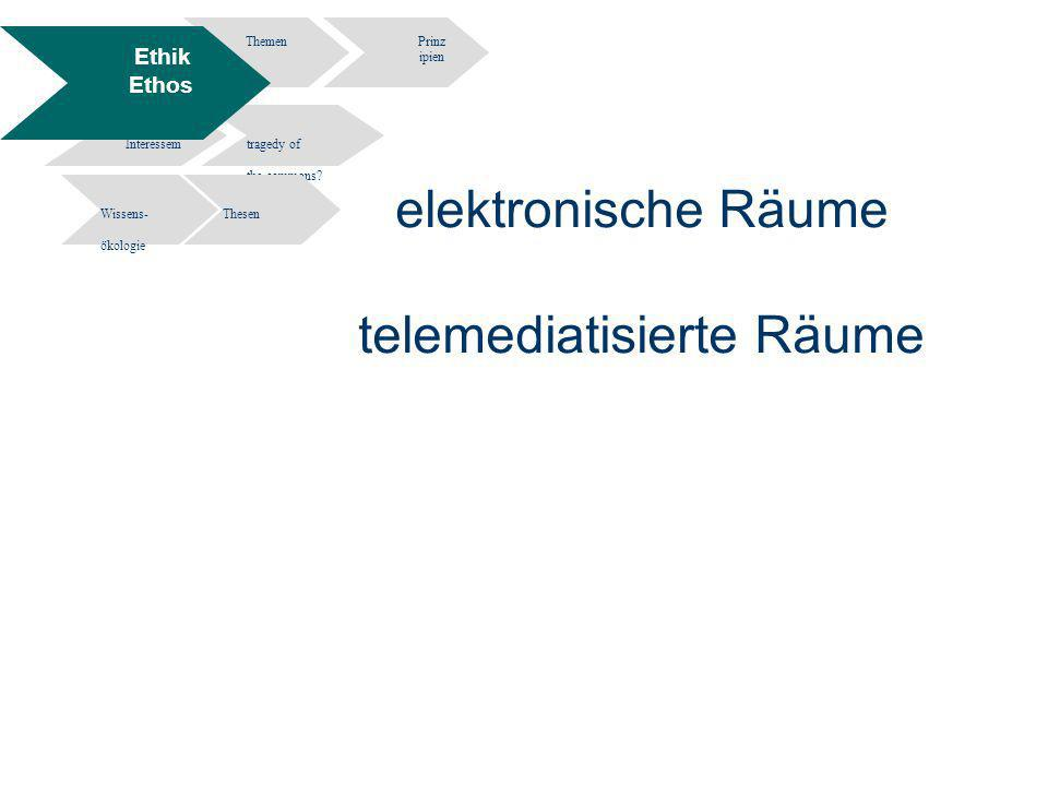 7 Information Engineering - Department of Computer and Information Science University of Constance Informationsethik- Wissen und Information in elektronischen Räumen - Potsdam 02.12.2004 elektronische Räume telemediatisierte Räume ThemenPrinz ipien Widersprüche Interessem tragedy of the commons.