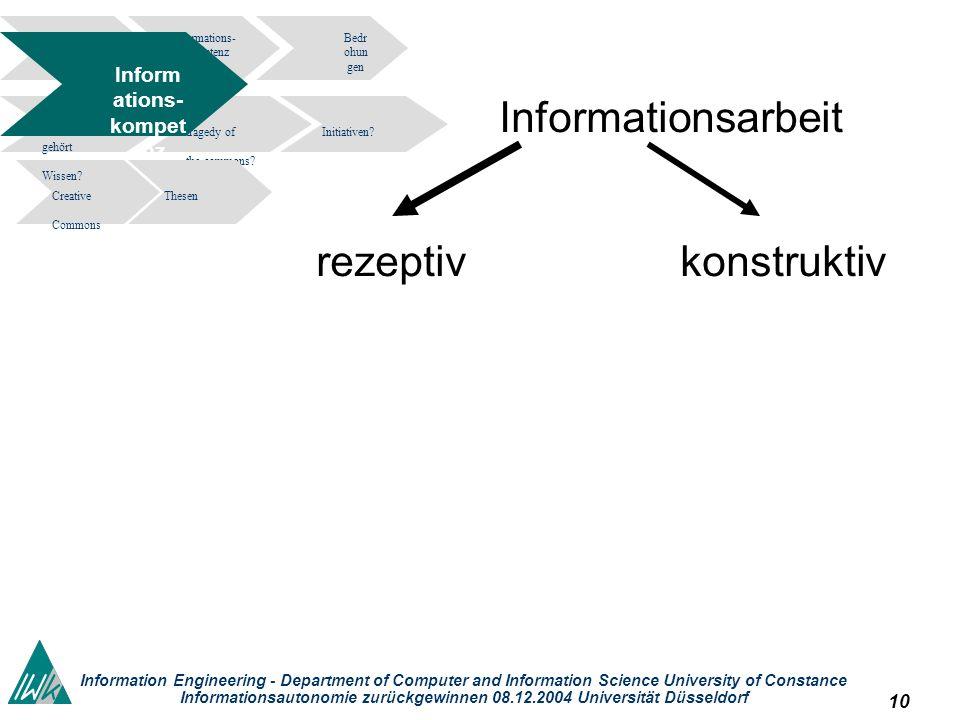 10 Information Engineering - Department of Computer and Information Science University of Constance Informationsautonomie zurückgewinnen 08.12.2004 Un