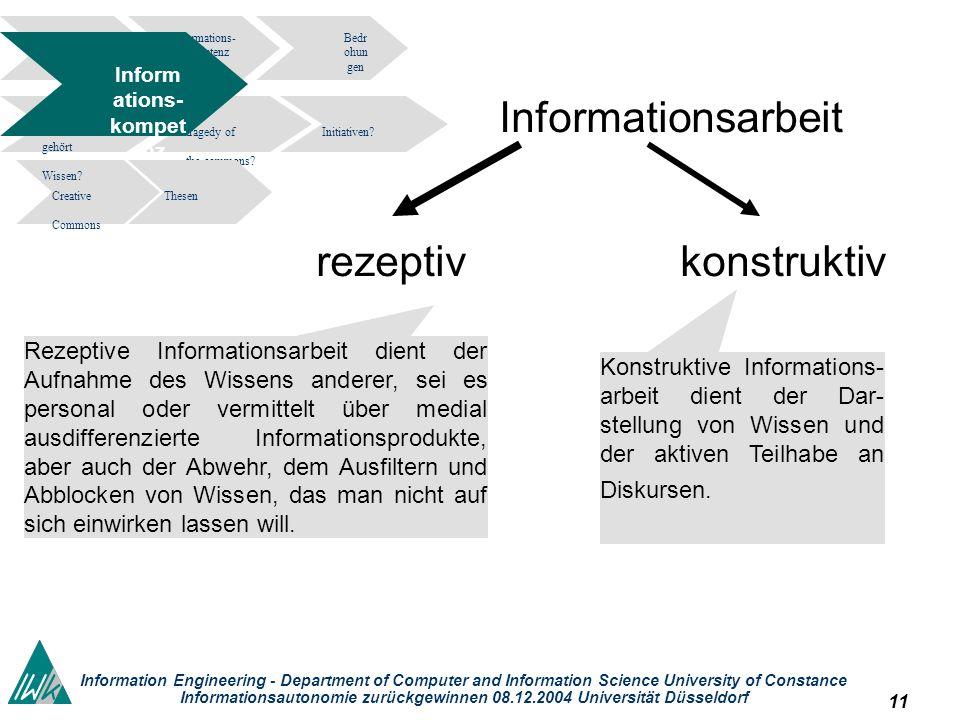 11 Information Engineering - Department of Computer and Information Science University of Constance Informationsautonomie zurückgewinnen 08.12.2004 Un