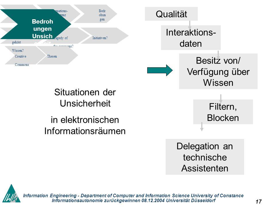 17 Information Engineering - Department of Computer and Information Science University of Constance Informationsautonomie zurückgewinnen 08.12.2004 Un