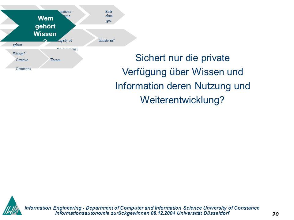 20 Information Engineering - Department of Computer and Information Science University of Constance Informationsautonomie zurückgewinnen 08.12.2004 Un