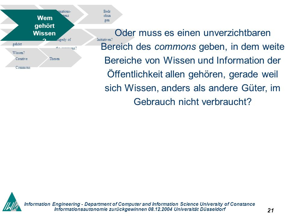 21 Information Engineering - Department of Computer and Information Science University of Constance Informationsautonomie zurückgewinnen 08.12.2004 Universität Düsseldorf Informations- kompetenz Bedr ohun gen tragedy of the commons.