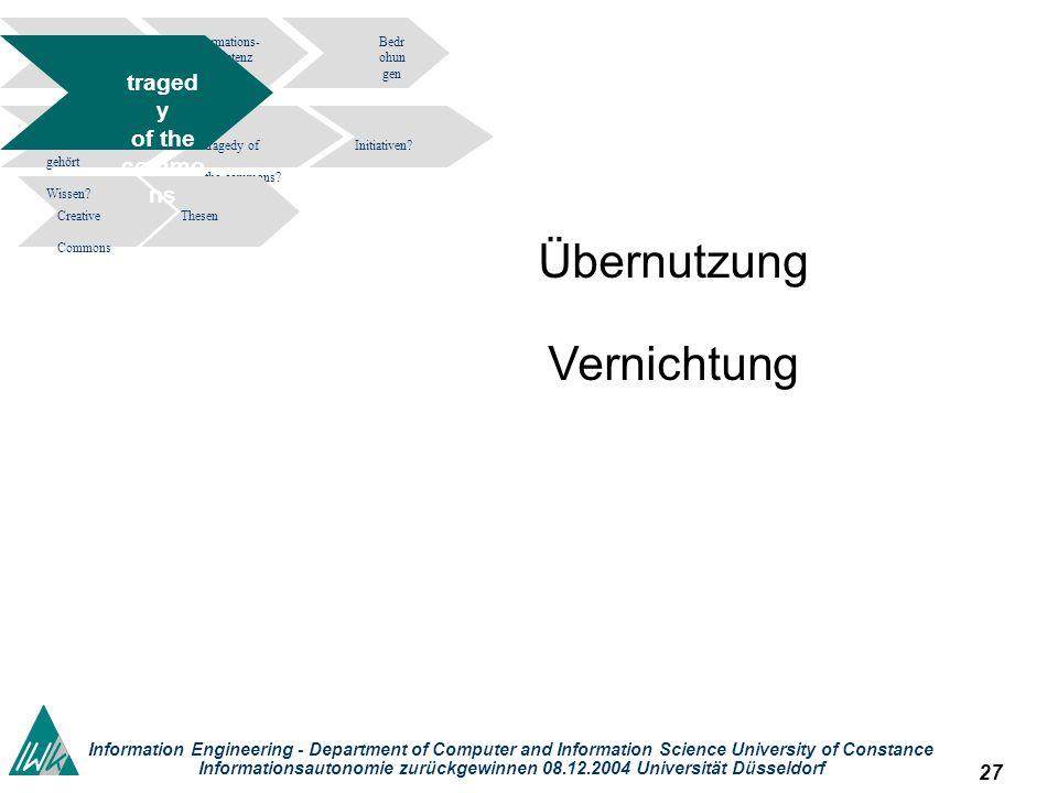 27 Information Engineering - Department of Computer and Information Science University of Constance Informationsautonomie zurückgewinnen 08.12.2004 Universität Düsseldorf Informations- kompetenz Bedr ohun gen tragedy of the commons.
