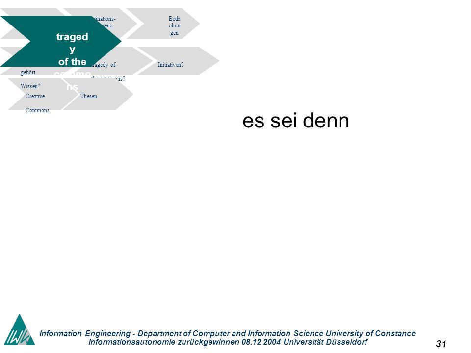 31 Information Engineering - Department of Computer and Information Science University of Constance Informationsautonomie zurückgewinnen 08.12.2004 Un