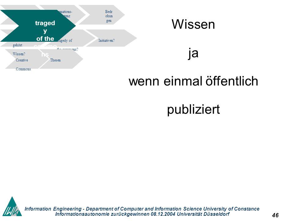 46 Information Engineering - Department of Computer and Information Science University of Constance Informationsautonomie zurückgewinnen 08.12.2004 Un