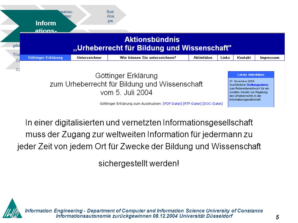 5 Information Engineering - Department of Computer and Information Science University of Constance Informationsautonomie zurückgewinnen 08.12.2004 Universität Düsseldorf Informations- kompetenz Bedr ohun gen tragedy of the commons.