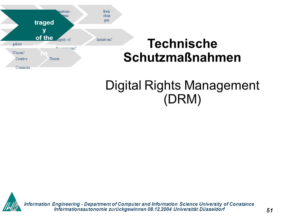 51 Information Engineering - Department of Computer and Information Science University of Constance Informationsautonomie zurückgewinnen 08.12.2004 Universität Düsseldorf Technische Schutzmaßnahmen Digital Rights Management (DRM) Informations- kompetenz Bedr ohun gen tragedy of the commons.