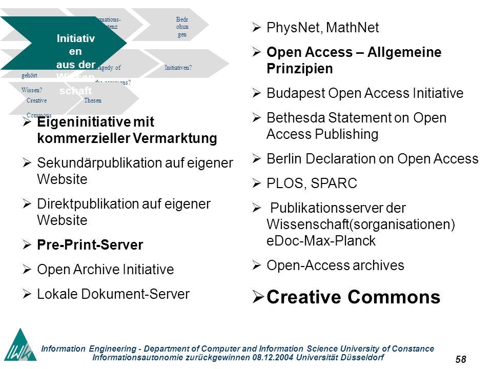 58 Information Engineering - Department of Computer and Information Science University of Constance Informationsautonomie zurückgewinnen 08.12.2004 Un