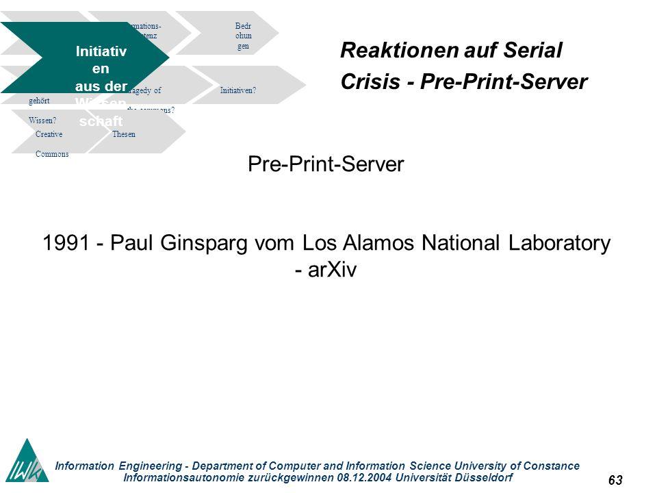 63 Information Engineering - Department of Computer and Information Science University of Constance Informationsautonomie zurückgewinnen 08.12.2004 Un
