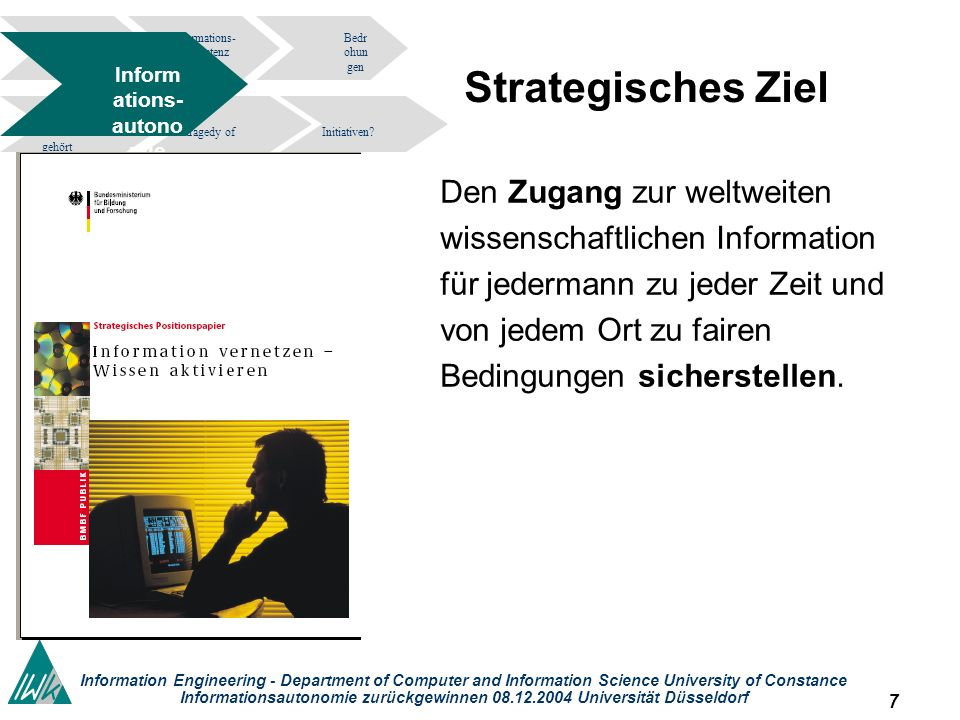 78 Information Engineering - Department of Computer and Information Science University of Constance Informationsautonomie zurückgewinnen 08.12.2004 Universität Düsseldorf Informations- kompetenz Bedr ohun gen tragedy of the commons.