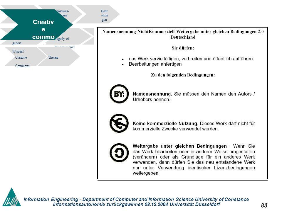 83 Information Engineering - Department of Computer and Information Science University of Constance Informationsautonomie zurückgewinnen 08.12.2004 Un