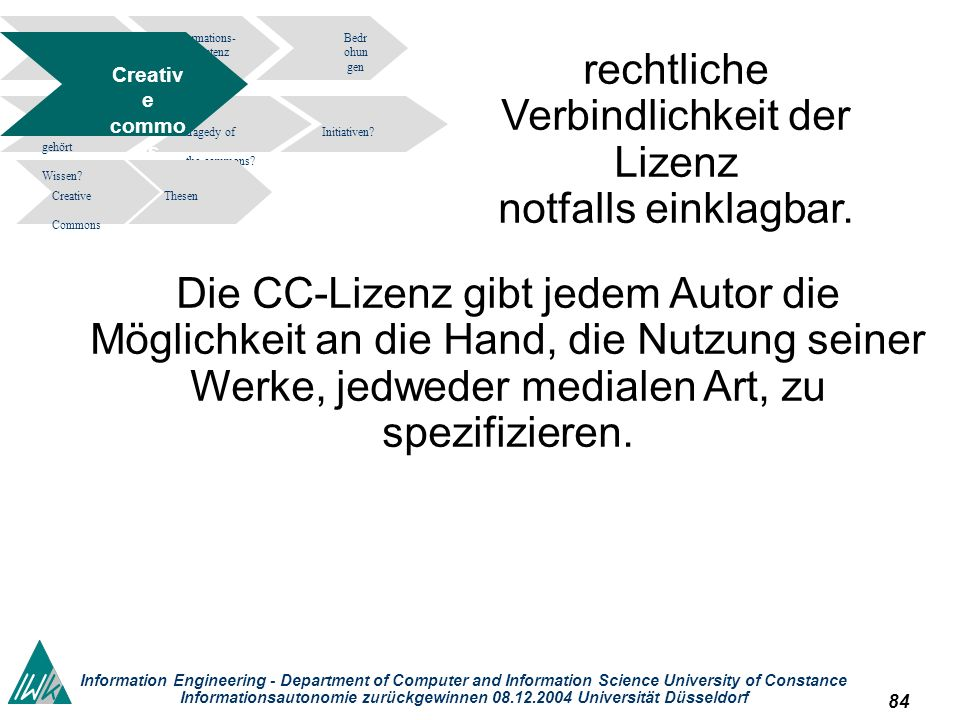 84 Information Engineering - Department of Computer and Information Science University of Constance Informationsautonomie zurückgewinnen 08.12.2004 Un