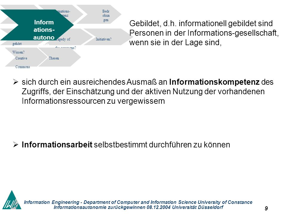 10 Information Engineering - Department of Computer and Information Science University of Constance Informationsautonomie zurückgewinnen 08.12.2004 Universität Düsseldorf Informations- kompetenz Bedr ohun gen tragedy of the commons.
