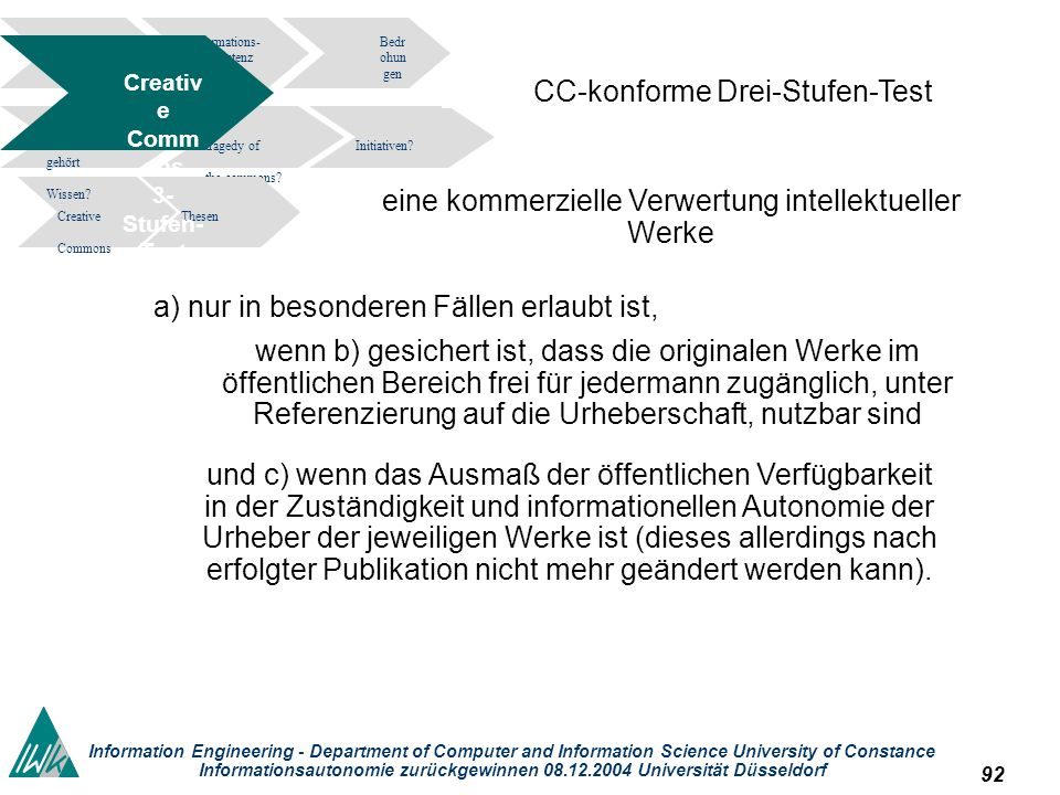 92 Information Engineering - Department of Computer and Information Science University of Constance Informationsautonomie zurückgewinnen 08.12.2004 Universität Düsseldorf Informations- kompetenz Bedr ohun gen tragedy of the commons.