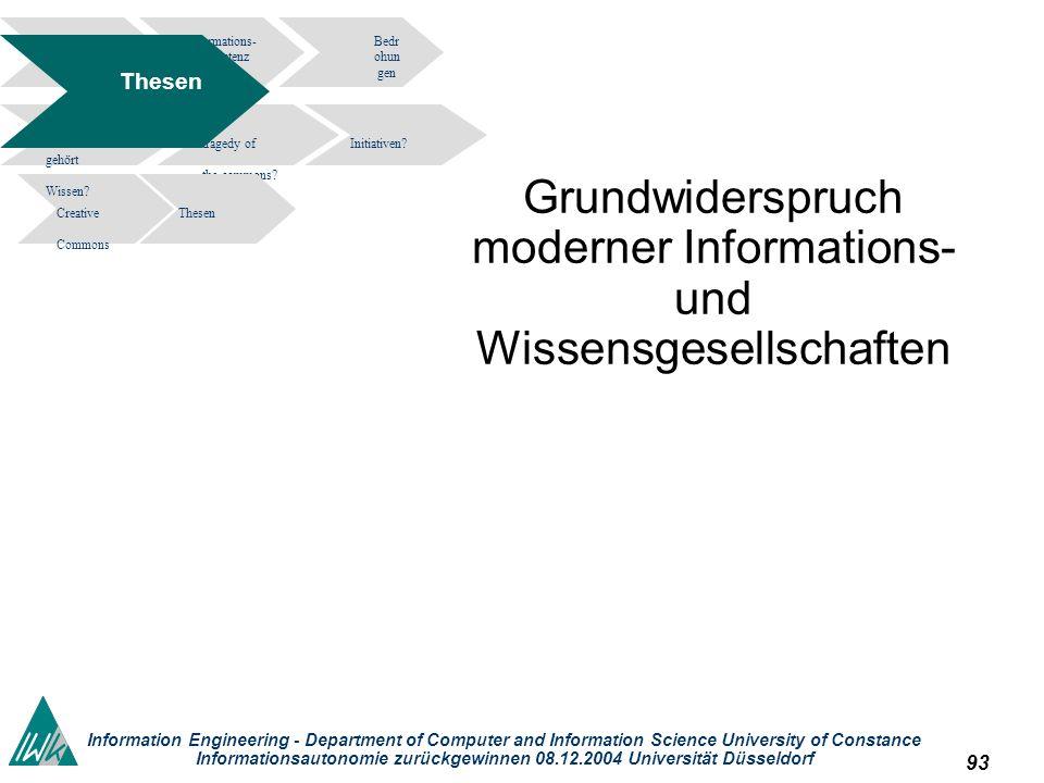 93 Information Engineering - Department of Computer and Information Science University of Constance Informationsautonomie zurückgewinnen 08.12.2004 Un