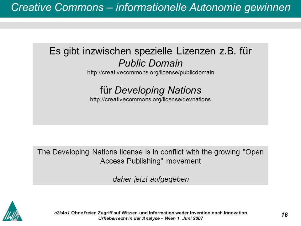 16 a2k4o1 Ohne freien Zugriff auf Wissen und Information weder Invention noch Innovation Urheberrecht in der Analyse – Wien 1.