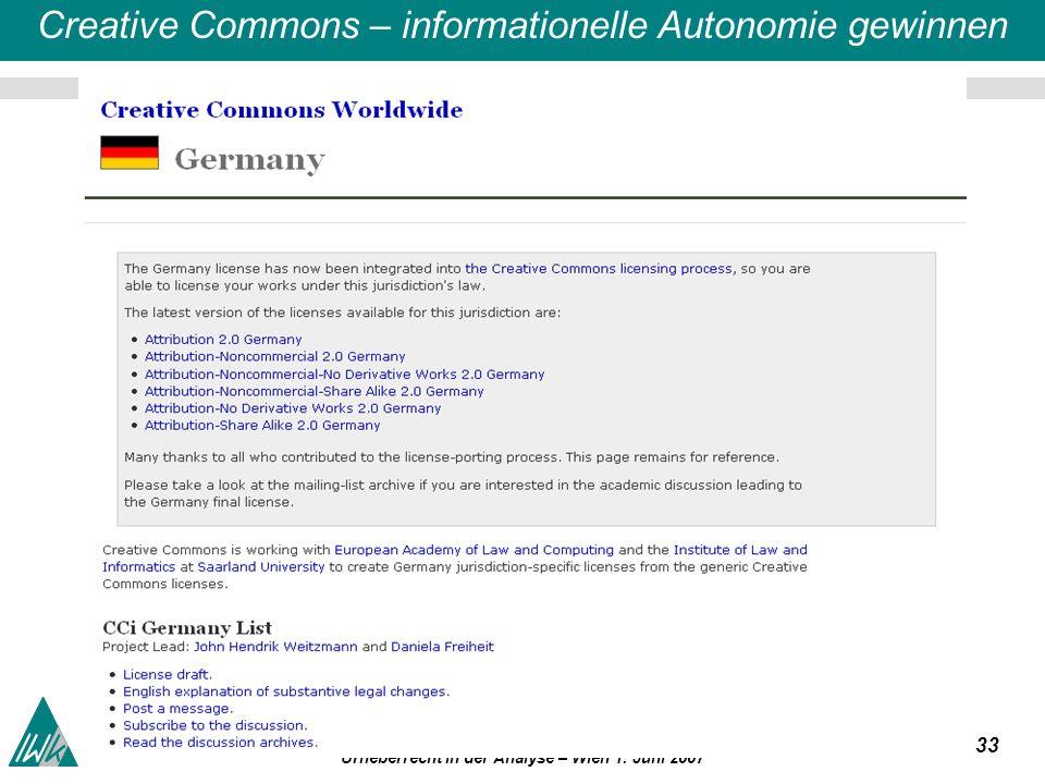 33 a2k4o1 Ohne freien Zugriff auf Wissen und Information weder Invention noch Innovation Urheberrecht in der Analyse – Wien 1.