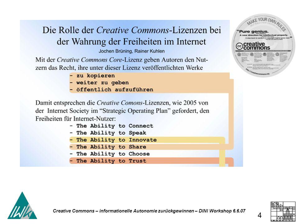 Creative Commons – informationelle Autonomie zurückgewinnen – DINI Workshop 6.6.07 25 Creative Commons – Science Commons