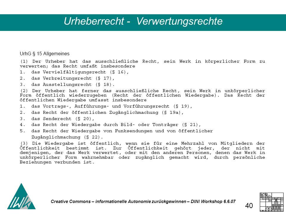 Creative Commons – informationelle Autonomie zurückgewinnen – DINI Workshop 6.6.07 40 Urheberrecht - Verwertungsrechte