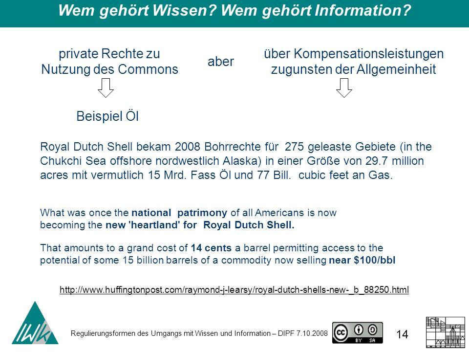 Regulierungsformen des Umgangs mit Wissen und Information – DIPF 7.10.2008 14 Wem gehört Wissen? Wem gehört Information? private Rechte zu Nutzung des