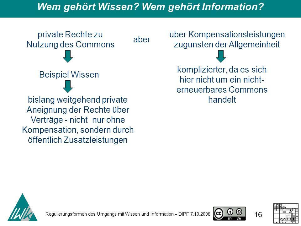 Regulierungsformen des Umgangs mit Wissen und Information – DIPF 7.10.2008 16 Wem gehört Wissen? Wem gehört Information? private Rechte zu Nutzung des