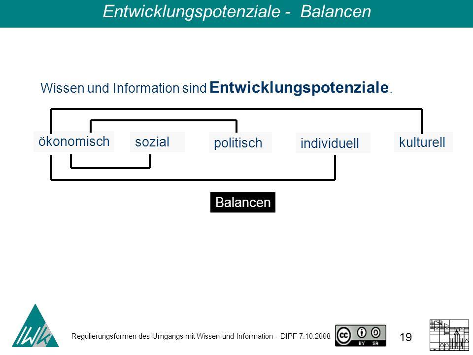 Regulierungsformen des Umgangs mit Wissen und Information – DIPF 7.10.2008 19 Entwicklungspotenziale - Balancen Wissen und Information sind Entwicklun