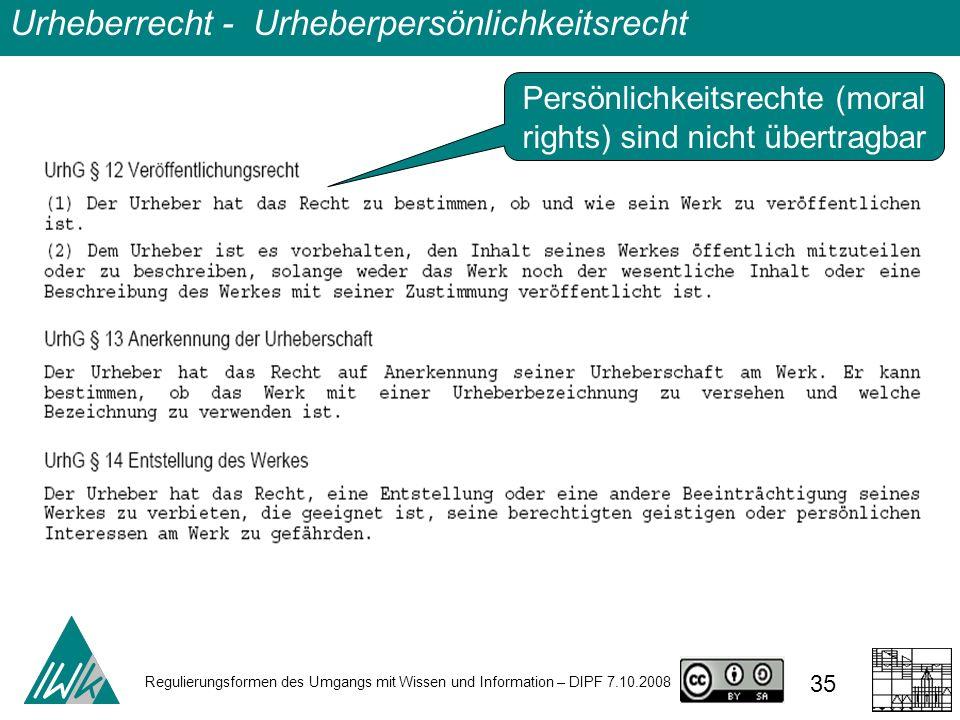 Regulierungsformen des Umgangs mit Wissen und Information – DIPF 7.10.2008 35 Urheberrecht - Urheberpersönlichkeitsrecht Persönlichkeitsrechte (moral