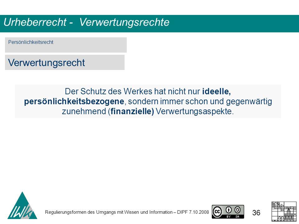 Regulierungsformen des Umgangs mit Wissen und Information – DIPF 7.10.2008 36 Urheberrecht - Verwertungsrechte Der Schutz des Werkes hat nicht nur ide