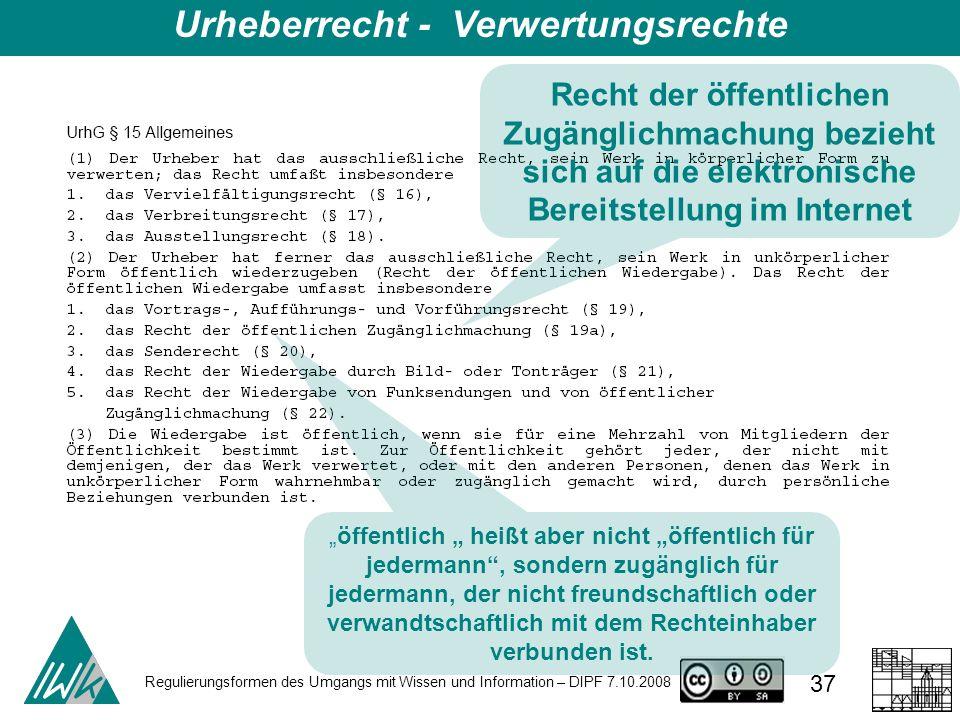 Regulierungsformen des Umgangs mit Wissen und Information – DIPF 7.10.2008 37 Urheberrecht - Verwertungsrechte Recht der öffentlichen Zugänglichmachun