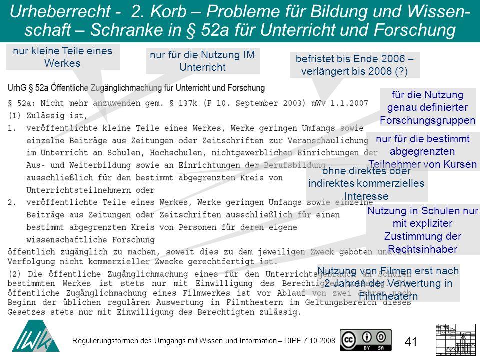 Regulierungsformen des Umgangs mit Wissen und Information – DIPF 7.10.2008 41 Urheberrecht - 2. Korb – Probleme für Bildung und Wissen- schaft – Schra