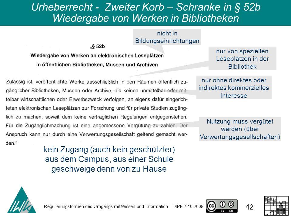 Regulierungsformen des Umgangs mit Wissen und Information – DIPF 7.10.2008 42 Urheberrecht - Zweiter Korb – Schranke in § 52b Wiedergabe von Werken in