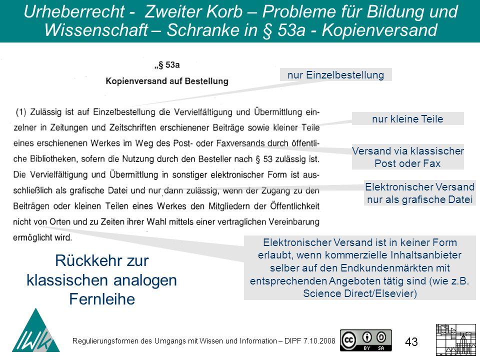 Regulierungsformen des Umgangs mit Wissen und Information – DIPF 7.10.2008 43 Urheberrecht - Zweiter Korb – Probleme für Bildung und Wissenschaft – Sc