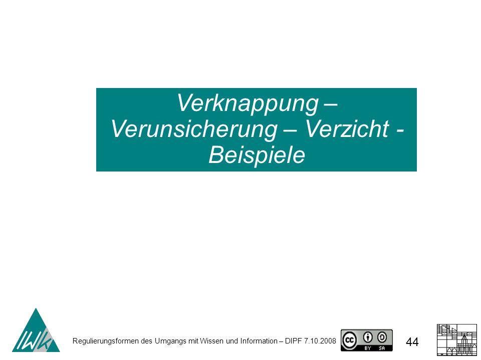 Regulierungsformen des Umgangs mit Wissen und Information – DIPF 7.10.2008 44 Verknappung – Verunsicherung – Verzicht - Beispiele