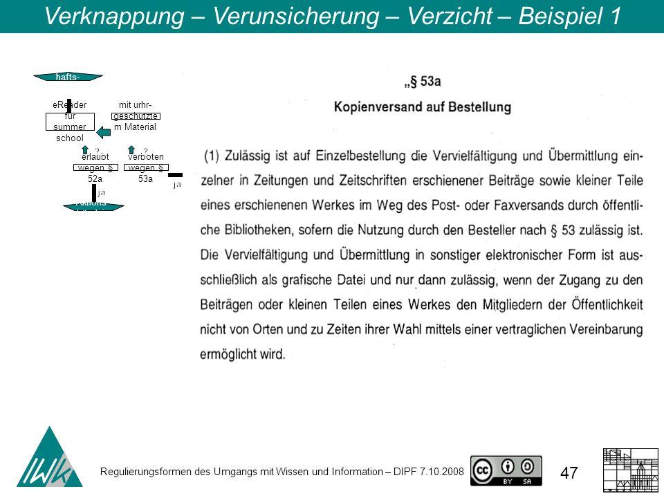 Regulierungsformen des Umgangs mit Wissen und Information – DIPF 7.10.2008 47 Verknappung – Verunsicherung – Verzicht – Beispiel 1 Wissensc hafts- zen