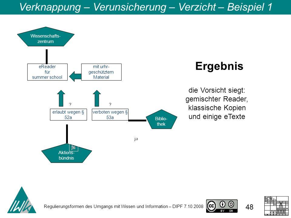 Regulierungsformen des Umgangs mit Wissen und Information – DIPF 7.10.2008 48 Verknappung – Verunsicherung – Verzicht – Beispiel 1 Wissenschafts- zent