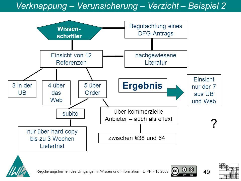 Regulierungsformen des Umgangs mit Wissen und Information – DIPF 7.10.2008 49 Verknappung – Verunsicherung – Verzicht – Beispiel 2 Wissen- schaftler Begutachtung eines DFG-Antrags Ergebnis .