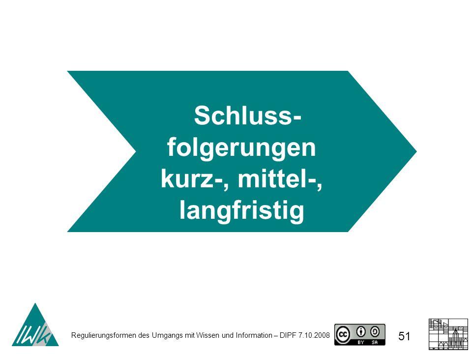 Regulierungsformen des Umgangs mit Wissen und Information – DIPF 7.10.2008 51 Schluss- folgerungen kurz-, mittel-, langfristig