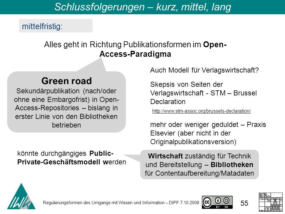 Regulierungsformen des Umgangs mit Wissen und Information – DIPF 7.10.2008 55 mittelfristig: Alles geht in Richtung Publikationsformen im Open- Access