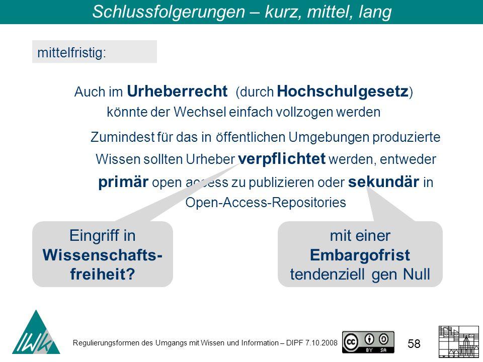 Regulierungsformen des Umgangs mit Wissen und Information – DIPF 7.10.2008 58 mittelfristig: Auch im Urheberrecht (durch Hochschulgesetz ) könnte der