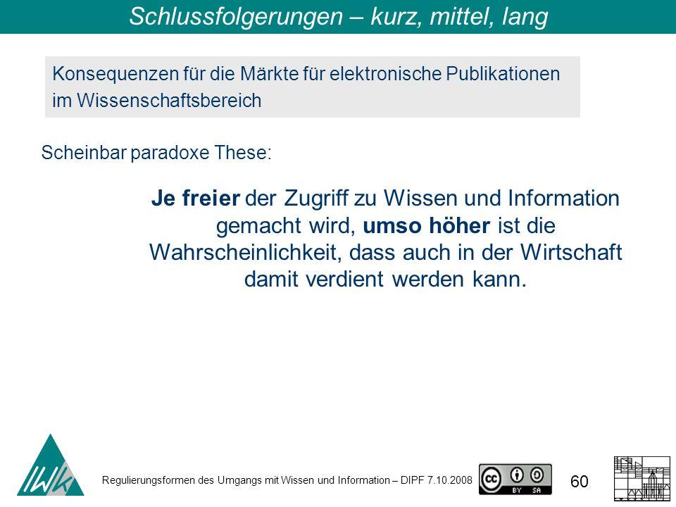 Regulierungsformen des Umgangs mit Wissen und Information – DIPF 7.10.2008 60 Konsequenzen für die Märkte für elektronische Publikationen im Wissensch