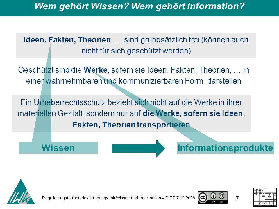 Regulierungsformen des Umgangs mit Wissen und Information – DIPF 7.10.2008 7 Wem gehört Wissen? Wem gehört Information? Ideen, Fakten, Theorien, … sin