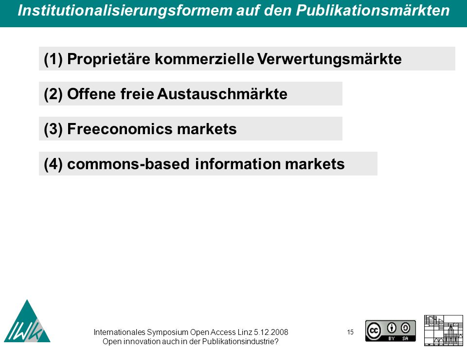 Internationales Symposium Open Access Linz 5.12.2008 Open innovation auch in der Publikationsindustrie? 15 Institutionalisierungsformem auf den Publik